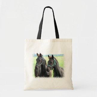 Bolso negro del diseño de los caballos bolsa tela barata