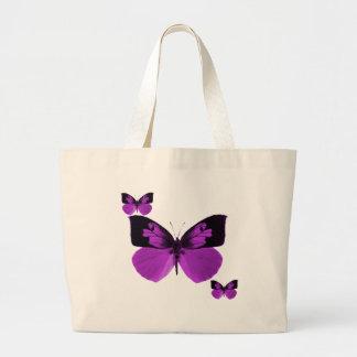 Bolso negro y púrpura de la mariposa bolsa tela grande