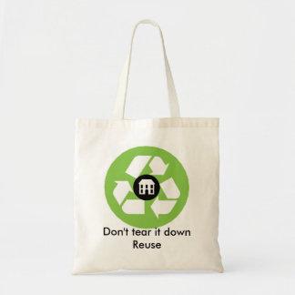 Bolso - no lo rasgue abajo - reutilización bolsa tela barata
