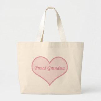 Bolso orgulloso de la abuela rosado bolsas lienzo