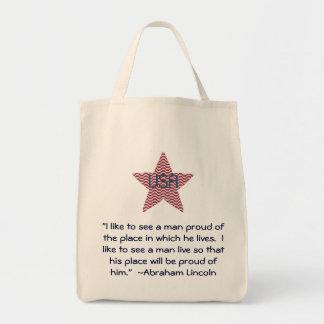 Bolso patriótico de la estrella de la cita de bolsa tela para la compra