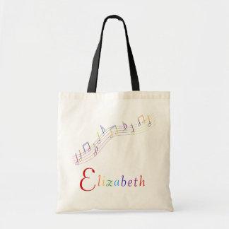 Bolso personalizado arco iris de la música bolsas lienzo
