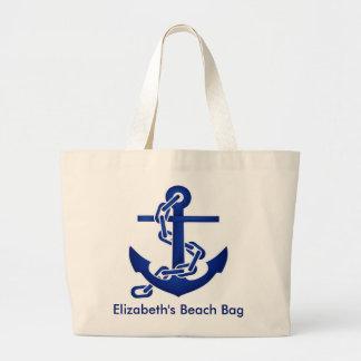 Bolso personalizado de la playa del ancla bolsa tela grande