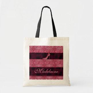 Bolso personalizado guepardo rosado del almuerzo bolsa tela barata