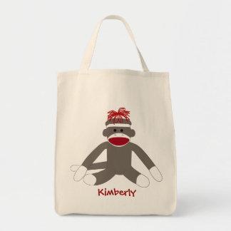Bolso personalizado mono del calcetín bolsa tela para la compra