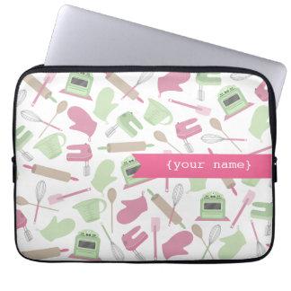 Bolso personalizado temático de cocinar rosado de  mangas computadora