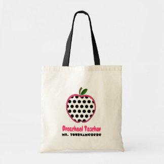 Bolso preescolar del profesor - lunar Apple Bolsa Lienzo