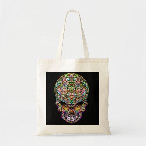 Bolso psicodélico del diseño del arte del cráneo bolsas lienzo