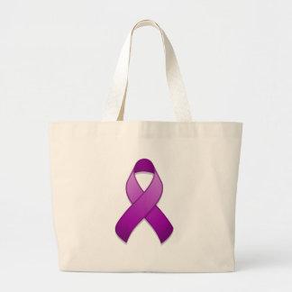 Bolso púrpura de la cinta de la conciencia bolsa tela grande