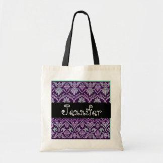 Bolso púrpura de la dama de honor del damasco del  bolsa lienzo