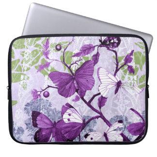 Bolso púrpura de la electrónica de las mariposas manga computadora