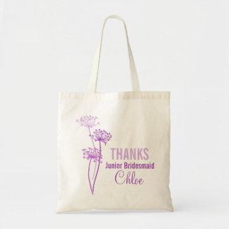 Bolso púrpura de la flor de la dama de honor menor bolsa tela barata
