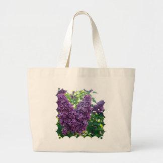 Bolso púrpura de la lona de las lilas bolsa tela grande
