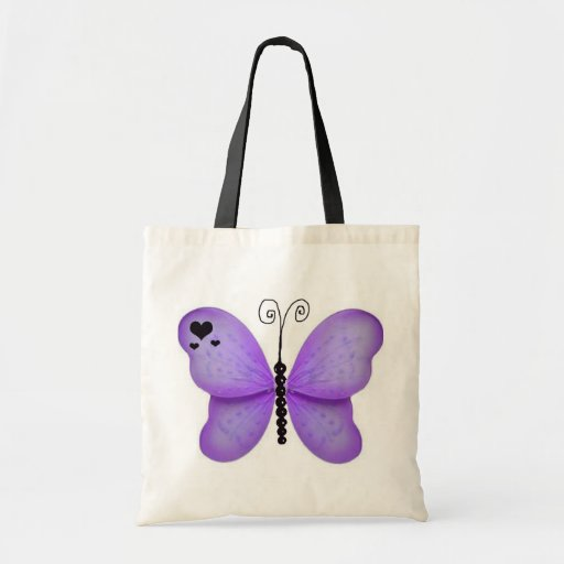 Bolso púrpura de la mariposa bolsa tela barata