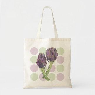 Bolso púrpura de los puntos de las alcachofas bolsa tela barata