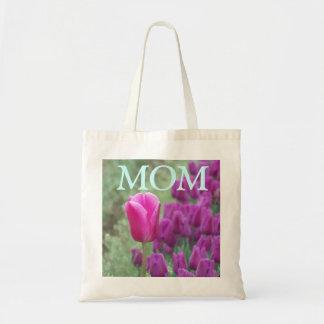 Bolso púrpura de los tulipanes de la MAMÁ Bolsa Tela Barata