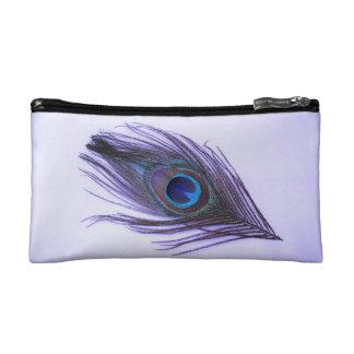 Bolso púrpura del cosmético de la pluma del pavo