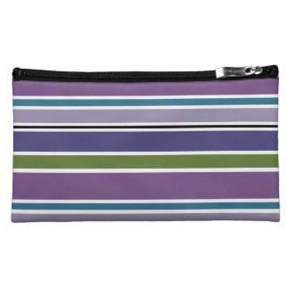 Bolso púrpura del cosmético de las rayas