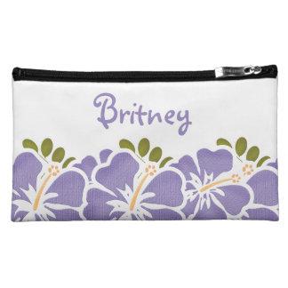 Bolso púrpura del cosmético del hibisco