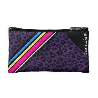 Bolso púrpura del cosmético del leopardo