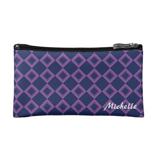 Bolso púrpura del cosmético del modelo del diamant