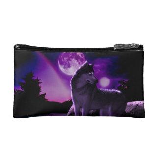Bolso púrpura del maquillaje del lobo