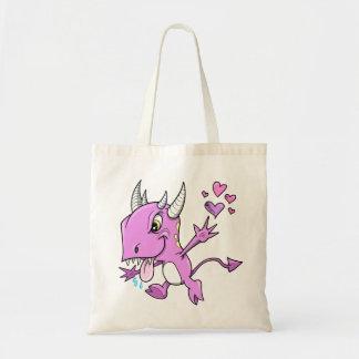 Bolso púrpura del monstruo del amor bolsa lienzo