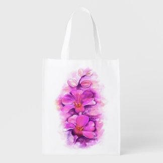 Bolso púrpura rosado estilizado del arte de la bolsas reutilizables