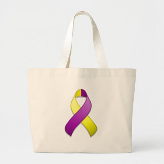Bolso púrpura y amarillo de la cinta de la concien bolsa tela grande