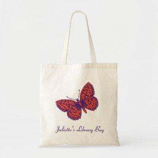 Bolso púrpura y anaranjado de la mariposa del Frit Bolsas De Mano