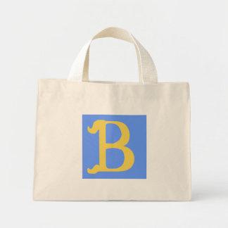 Bolso rayado con monograma con la letra B Bolsa Tela Pequeña