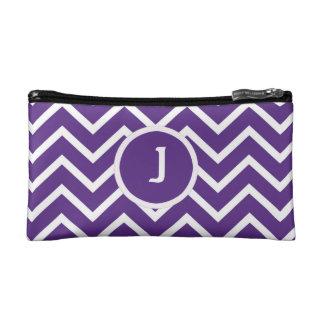 Bolso rayado del maquillaje del galón púrpura - pe