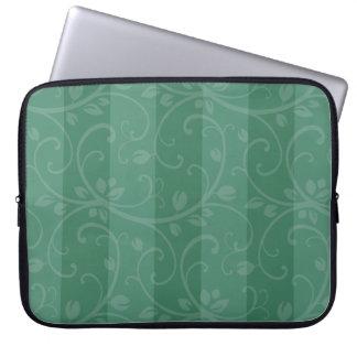 Bolso rayado floral verde de la electrónica manga computadora