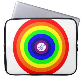 Bolso redondo del ordenador portátil del arco iris funda computadora