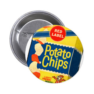 Bolso retro de las patatas fritas de las patatas a pin redondo de 2 pulgadas