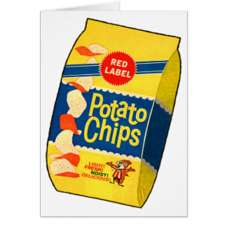 Bolso retro de las patatas fritas de las patatas a tarjetón