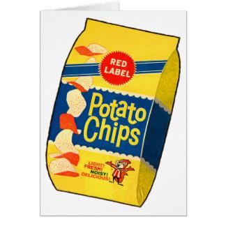 Bolso retro de las patatas fritas de las patatas a tarjeta de felicitación