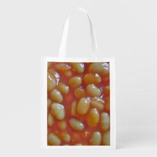 Bolso reutilizable cocido de las habas bolsas de la compra