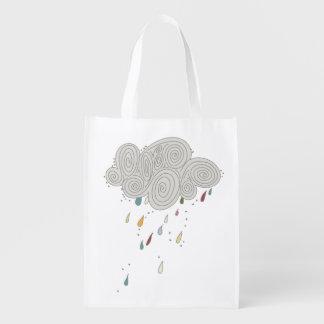 Bolso reutilizable colorido de la nube de lluvia bolsas de la compra