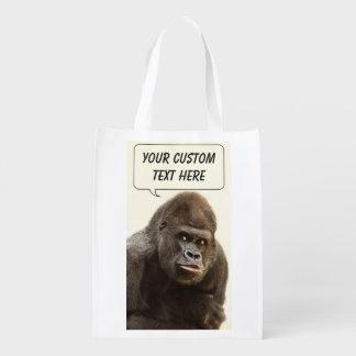 Bolso reutilizable de encargo del gorila divertido bolsas para la compra