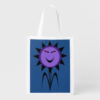 Bolso reutilizable de Halloween de la flor del Bolsa De La Compra