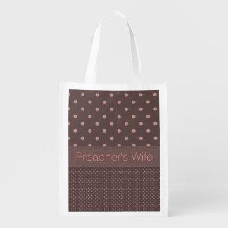 Bolso reutilizable de la esposa del predicador bolsas de la compra