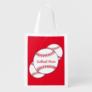 Bolso reutilizable de la mamá del softball bolsa para la compra