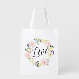 Bolso reutilizable de la primavera del amor floral bolsas de la compra