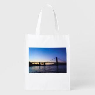 Bolso reutilizable de la puesta del sol de puente bolsa reutilizable