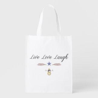 Bolso reutilizable de la risa viva del amor bolsa reutilizable