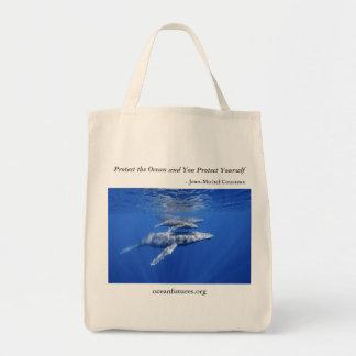 Bolso reutilizable de las ballenas jorobadas bolsa tela para la compra