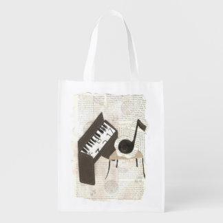 Bolso reutilizable de las notas musicales bolsas para la compra