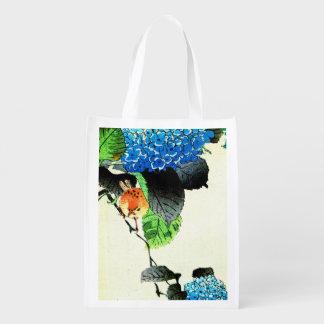 Bolso reutilizable de los Hydrangeas azules Bolsas Para La Compra