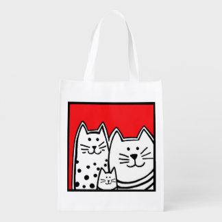 Bolso reutilizable de tres pequeños gatitos bolsa reutilizable